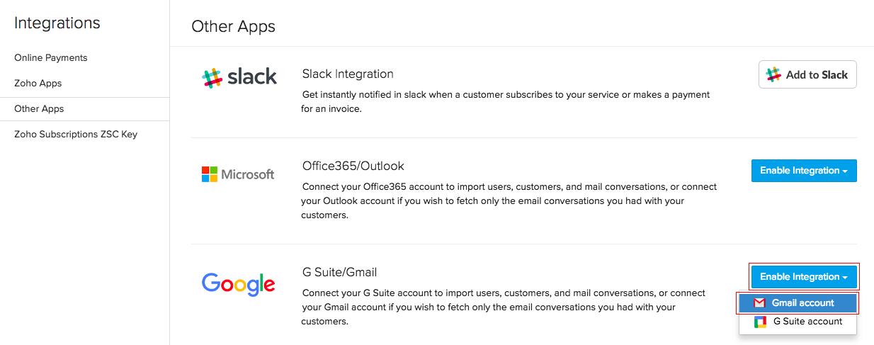 tích hợp gmail với zoho mail