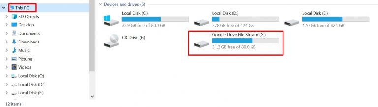 Drive File Stream được thêm vào máy tính