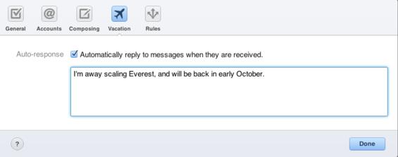 thông báo tự động trên icloud email